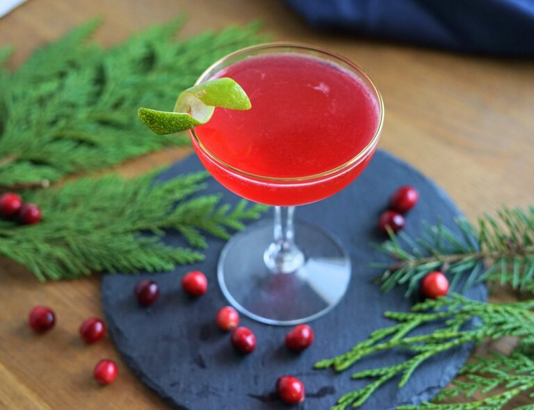 Shochu Cocktail Recipe: Spiced Holiday Cosmopolitan